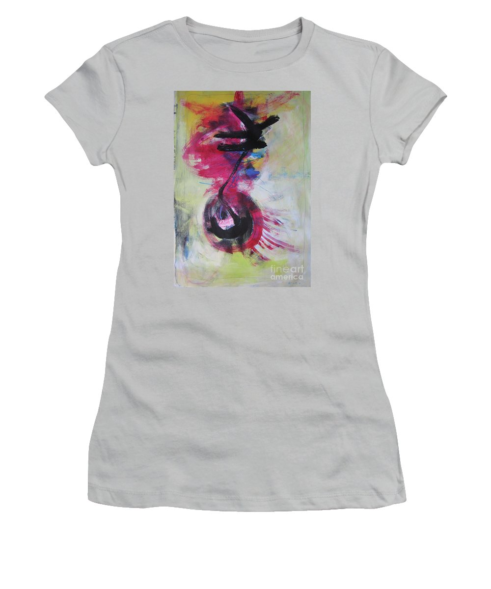 Abstract Paintings Red Paintings Women's T-Shirt (Athletic Fit) featuring the painting Everything A Mistake-abstract Red Painting by Seon-Jeong Kim