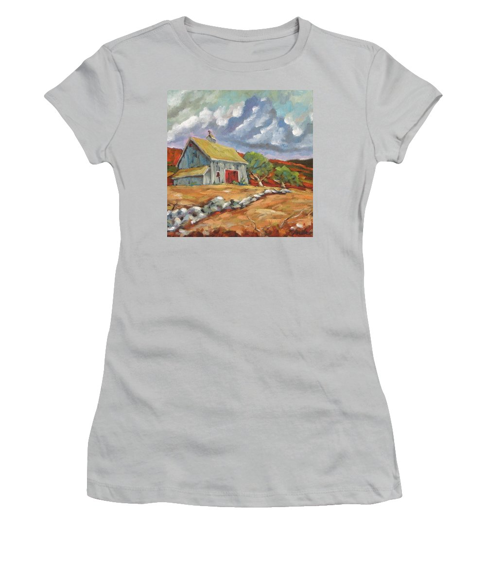 Farm Women's T-Shirt (Athletic Fit) featuring the painting Fall Scene by Richard T Pranke
