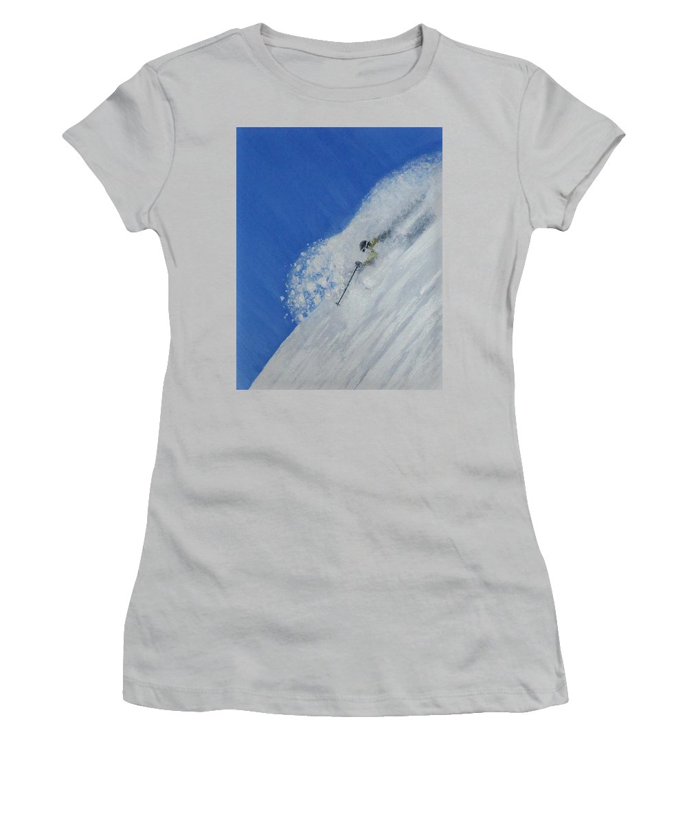 Ski Women's T-Shirt (Athletic Fit) featuring the painting First by Michael Cuozzo