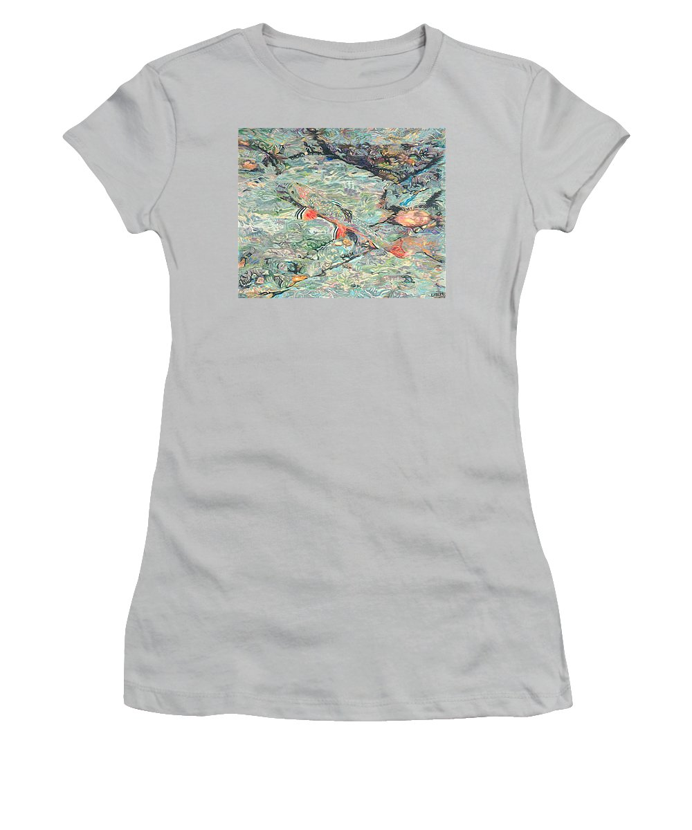 Art Women's T-Shirt (Athletic Fit) featuring the drawing Fish Art Trout Art Brook Trout Brookie Artwork Nature Underwater Wildlife Creek Art River Art Lake by Baslee Troutman