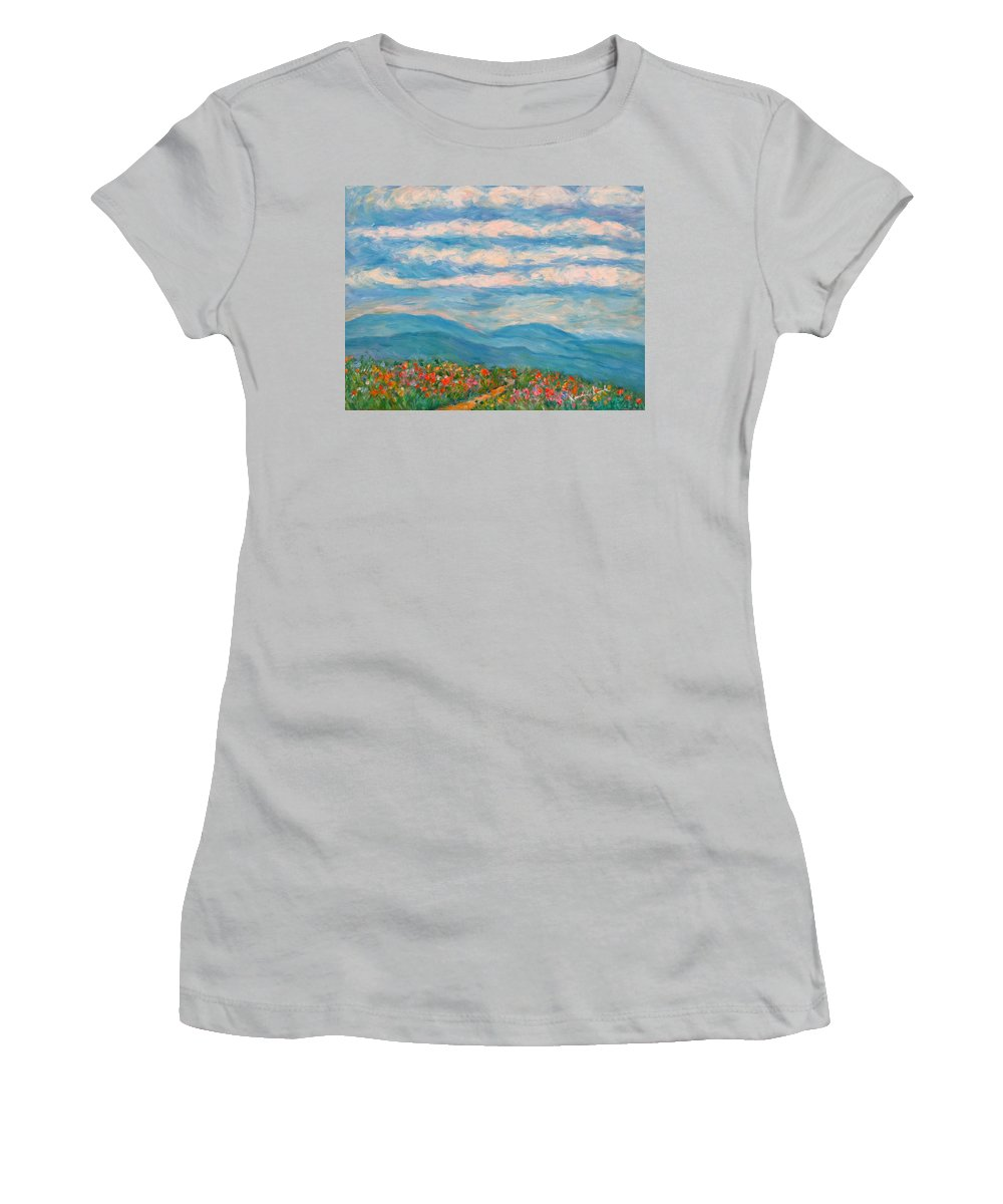 Blue Ridge Paintings Women's T-Shirt (Athletic Fit) featuring the painting Flower Path To The Blue Ridge by Kendall Kessler