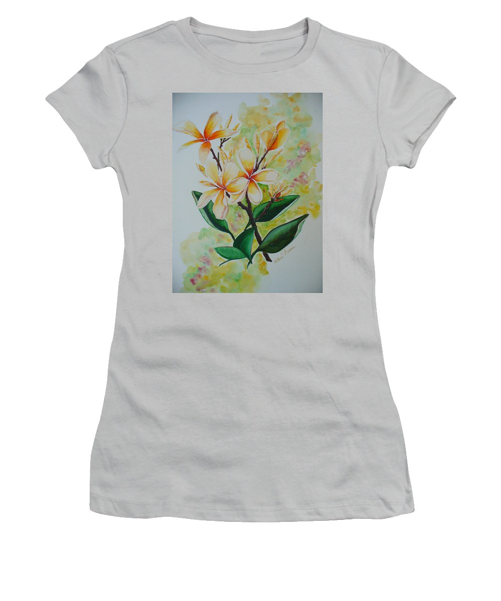 Women's T-Shirt (Athletic Fit) featuring the painting Frangipangi by Karin Dawn Kelshall- Best