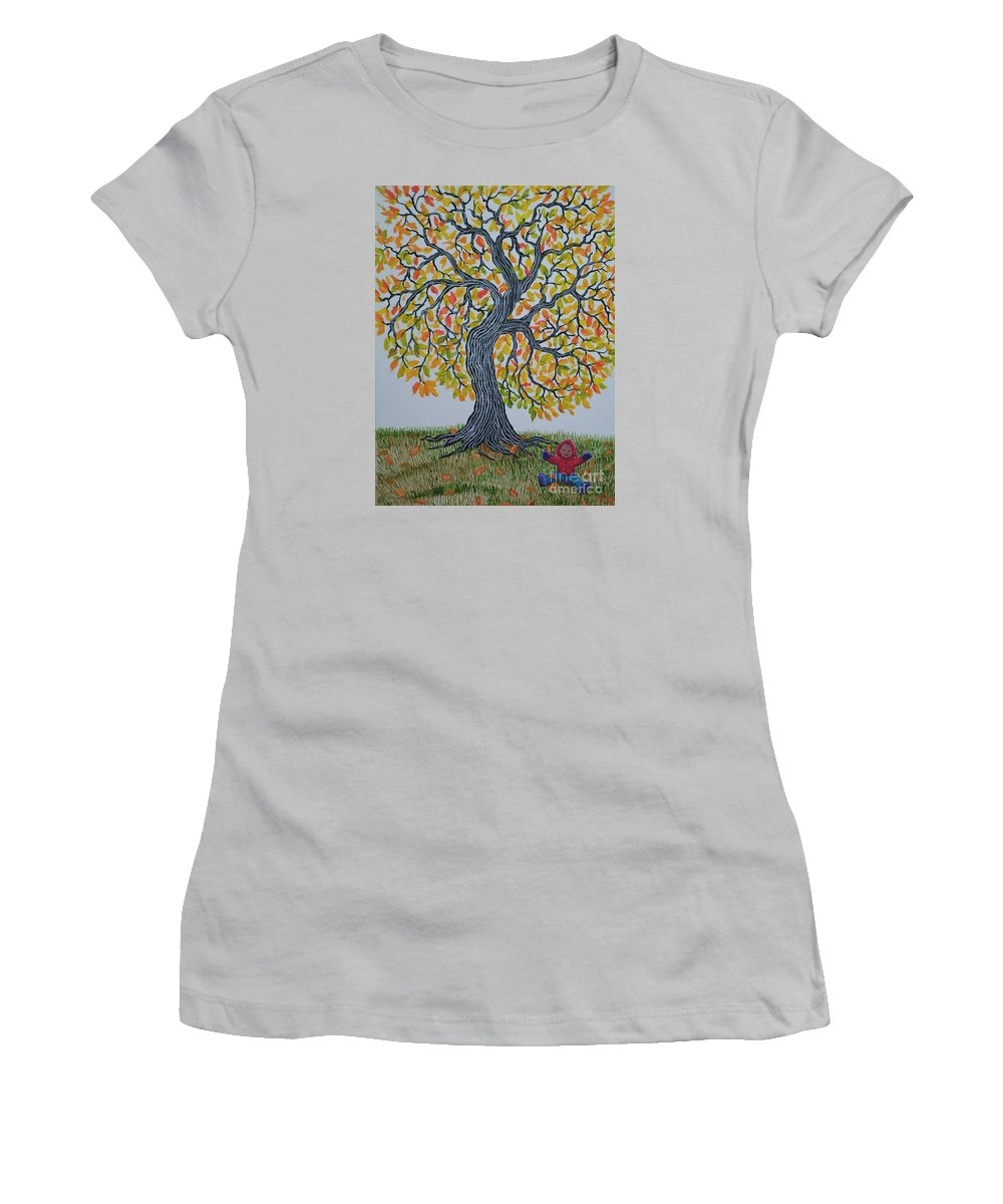 Girl Women's T-Shirt (Athletic Fit) featuring the painting Girl And Leafs by Nick Gustafson