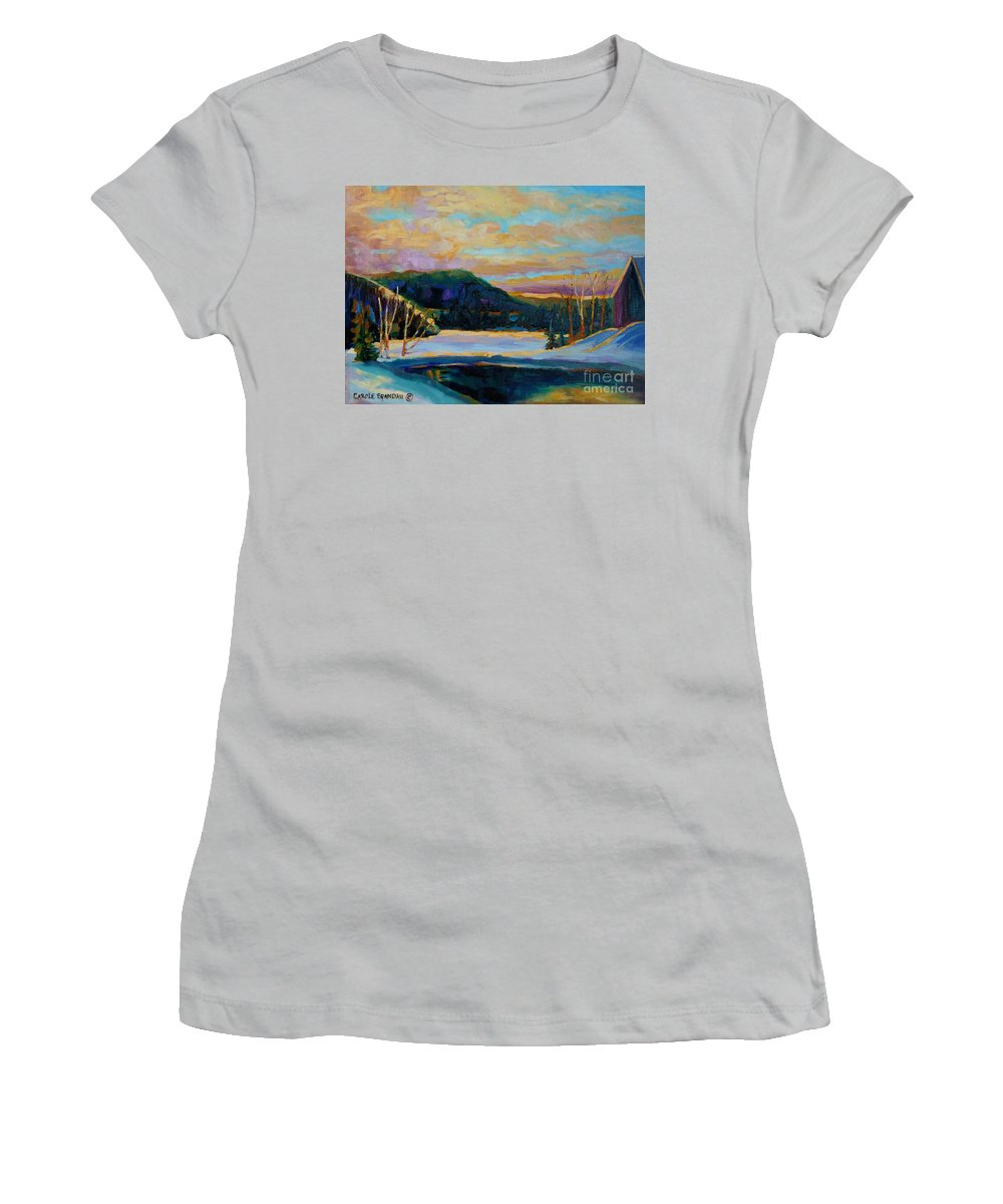 Vermont Women's T-Shirt (Athletic Fit) featuring the painting Glorious Winter Sunrise by Carole Spandau