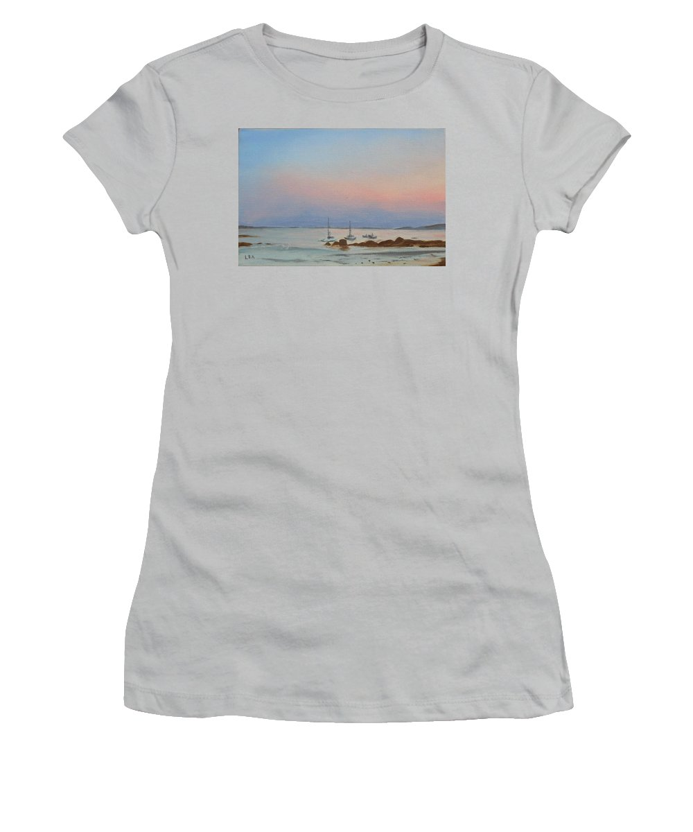 Seascape Women's T-Shirt (Athletic Fit) featuring the painting Good Harbor by Lea Novak