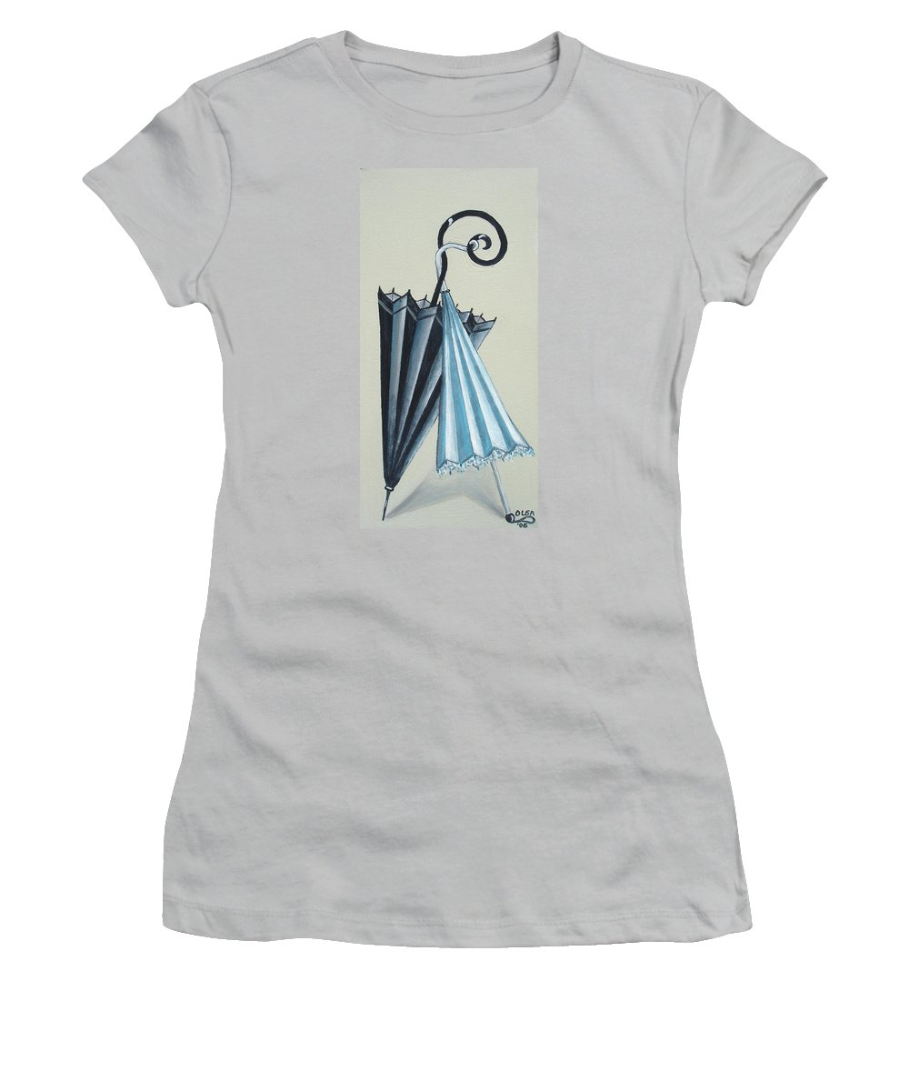Umbrellas Women's T-Shirt (Athletic Fit) featuring the painting Goog Morning by Olga Alexeeva