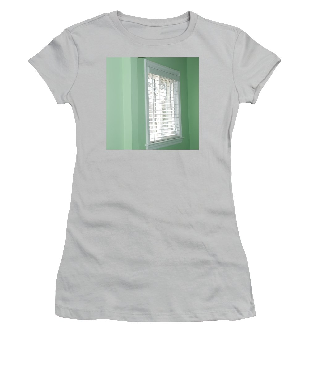 Architecture Women's T-Shirt (Athletic Fit) featuring the photograph Green Wall White Window by Rob Hans