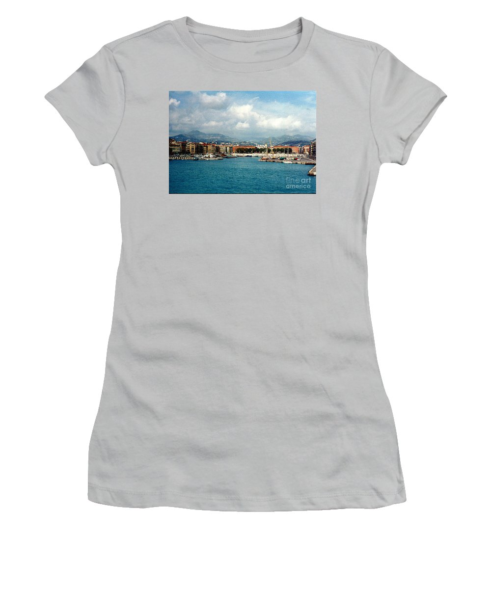 Landscape Women's T-Shirt (Athletic Fit) featuring the photograph Harbor Scene In Nice France by Nancy Mueller