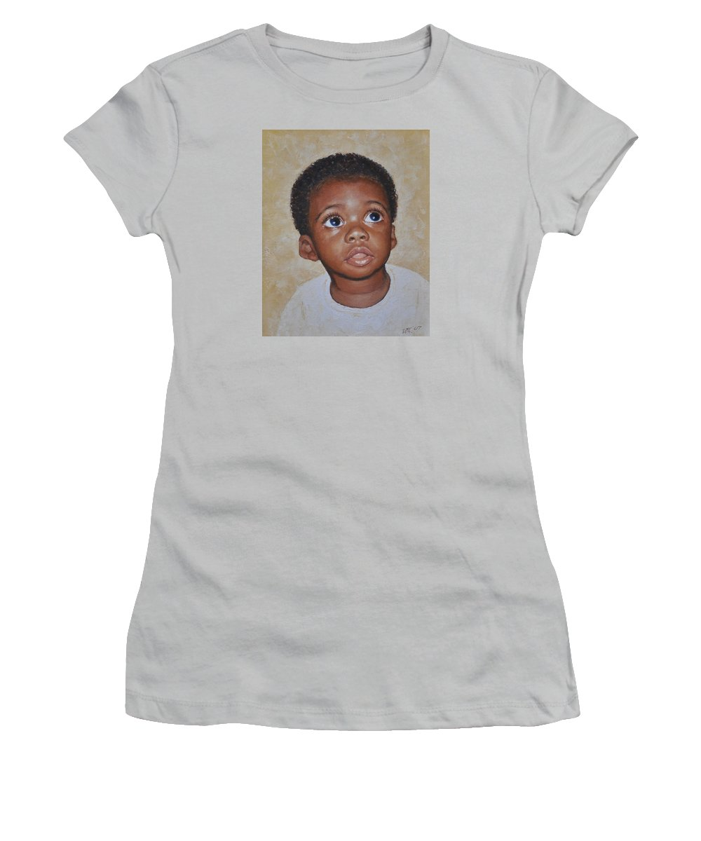 Portaits Women's T-Shirt (Athletic Fit) featuring the painting He Is Coming by Iliyan Bozhanov