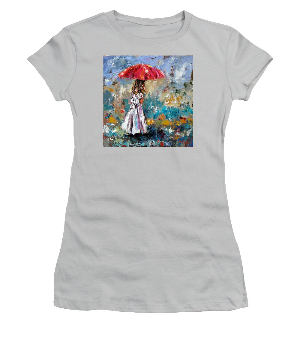 Children Art Women's T-Shirt (Athletic Fit) featuring the painting Her White Dress by Debra Hurd