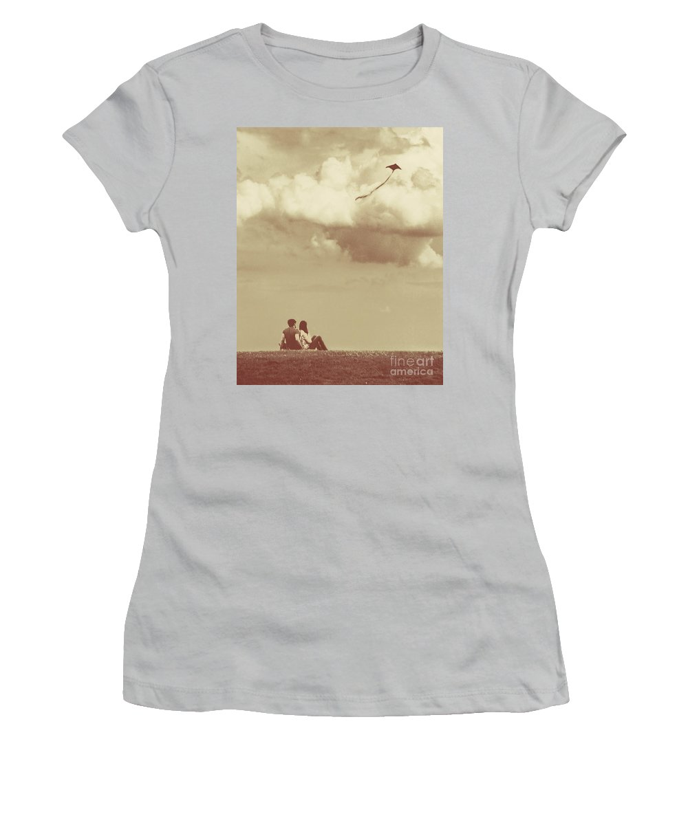 Dipasquale Women's T-Shirt (Athletic Fit) featuring the photograph I Had A Dream I Could Fly From The Highest Swing by Dana DiPasquale
