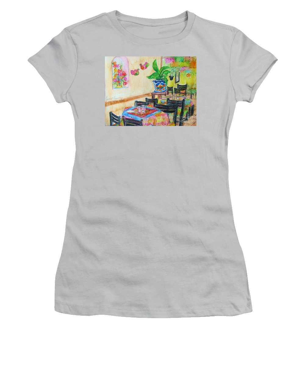 Watercolor Women's T-Shirt (Athletic Fit) featuring the painting Indoor Cafe - Gifted by Judith Espinoza