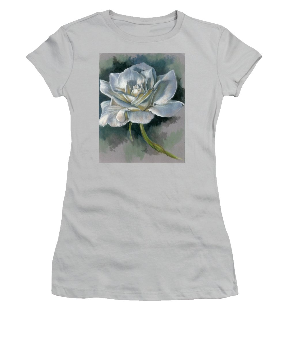 Rose Women's T-Shirt (Athletic Fit) featuring the mixed media Innocence by Barbara Keith