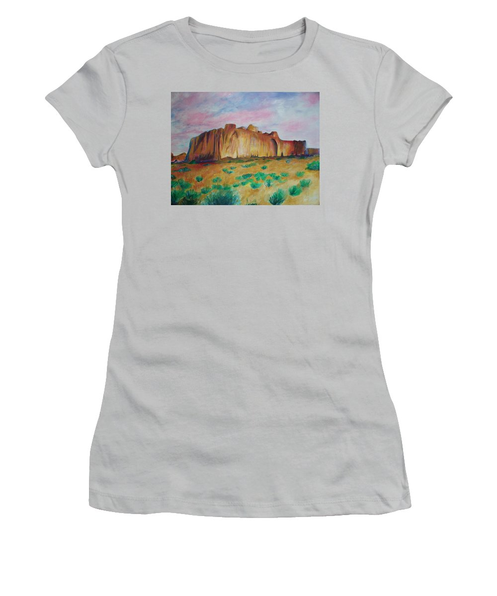 Western Landscapes Women's T-Shirt (Athletic Fit) featuring the painting Inscription Rock by Eric Schiabor