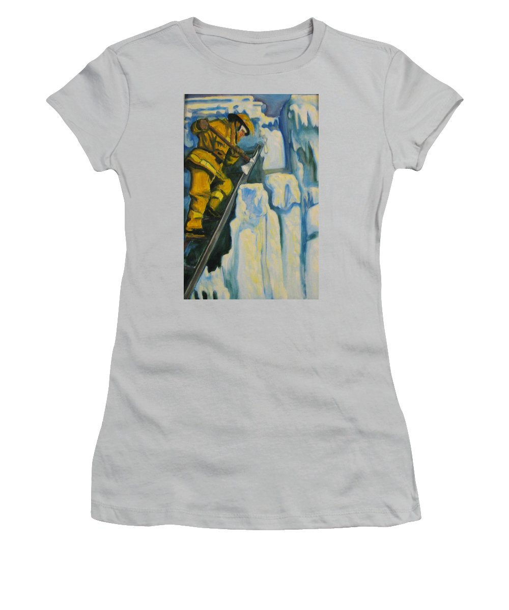 Firefighters Women's T-Shirt (Athletic Fit) featuring the painting Its Not Over Till Its Over by John Malone