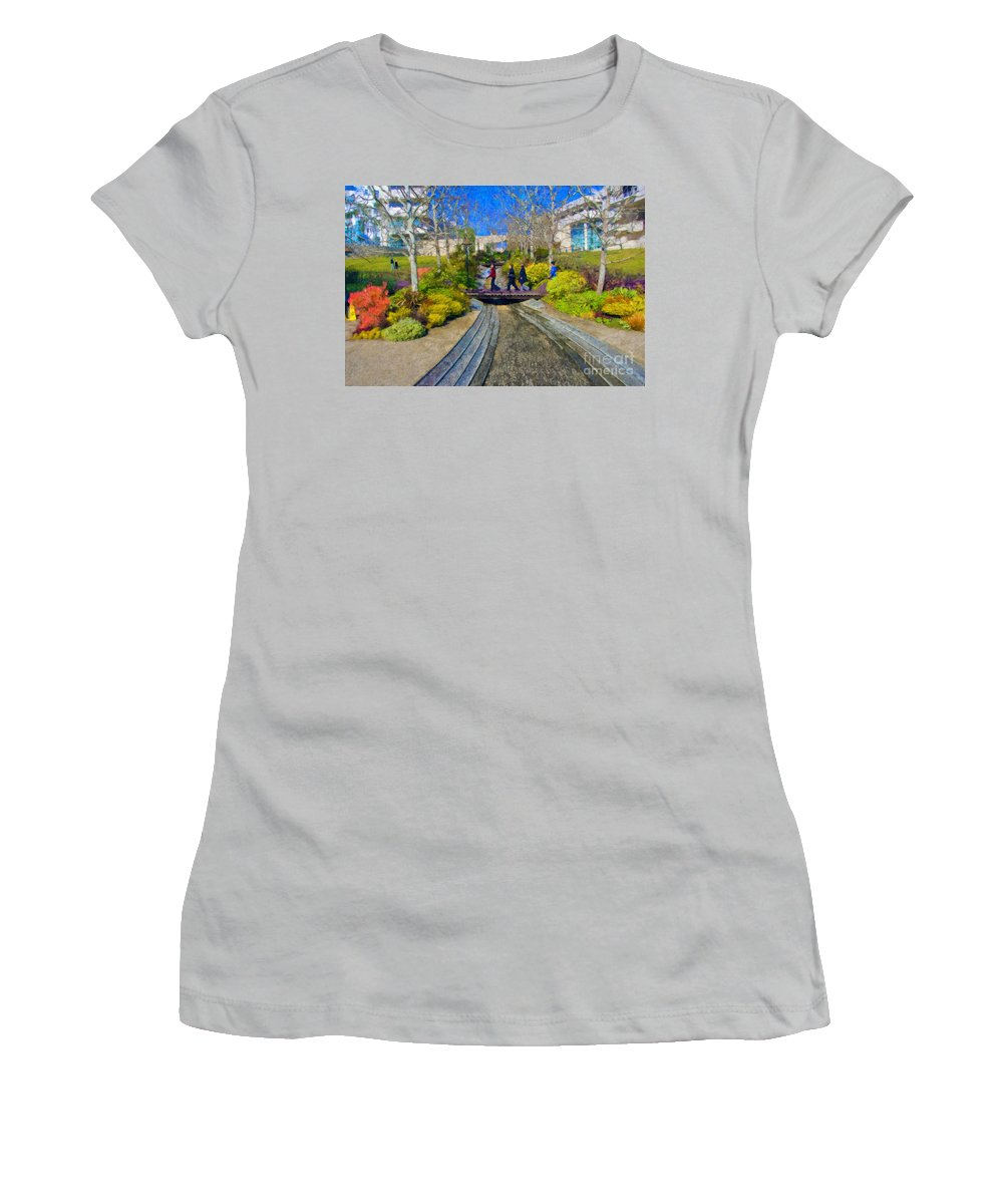 J Paul Getty Women's T-Shirt (Athletic Fit) featuring the photograph J Paul Getty Museum Garden Terrace by David Zanzinger
