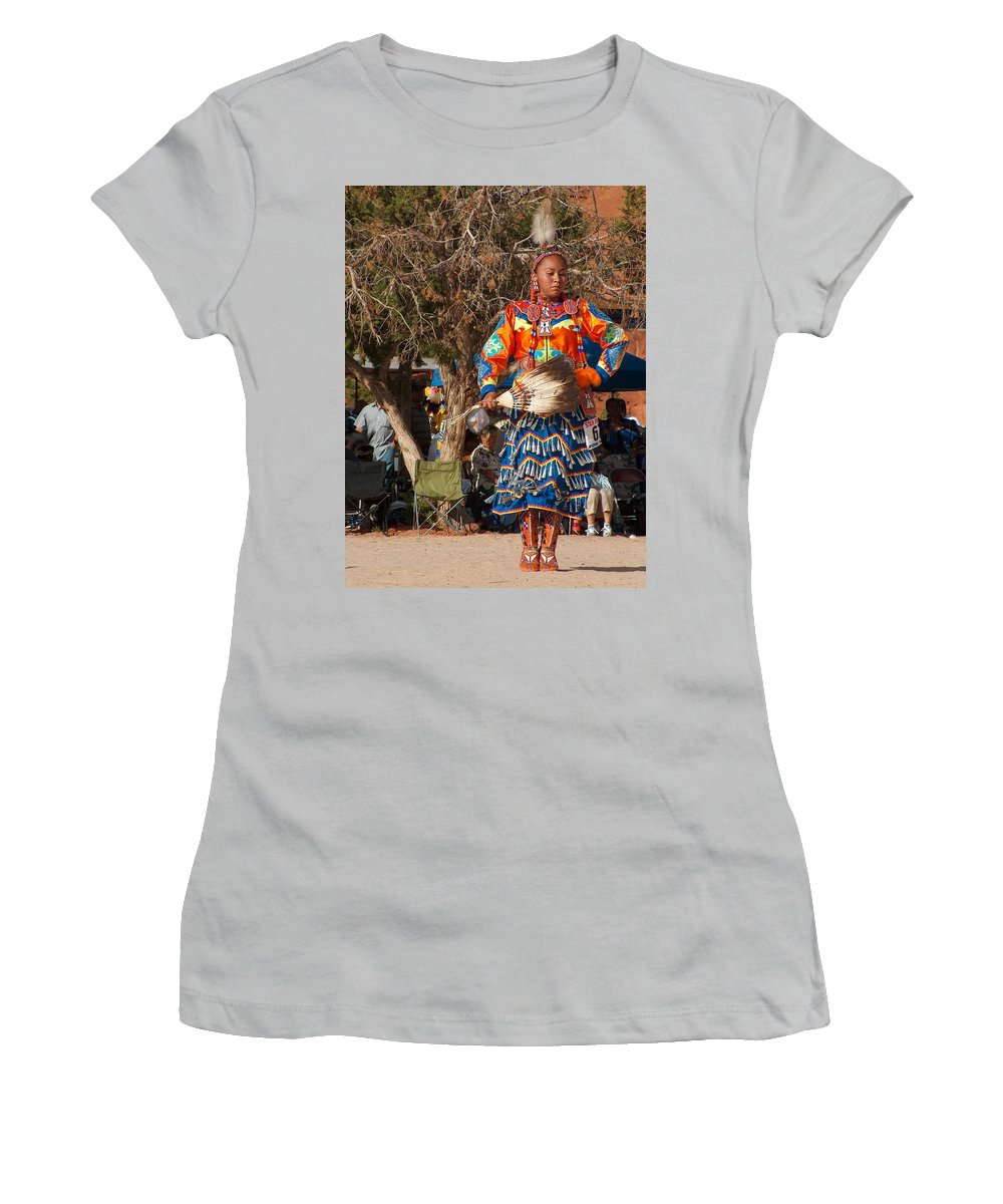 Pow-wow Dancer Women's T-Shirt (Athletic Fit) featuring the photograph Jingle Dress Dancer At Star Feather Pow-wow by Tim McCarthy