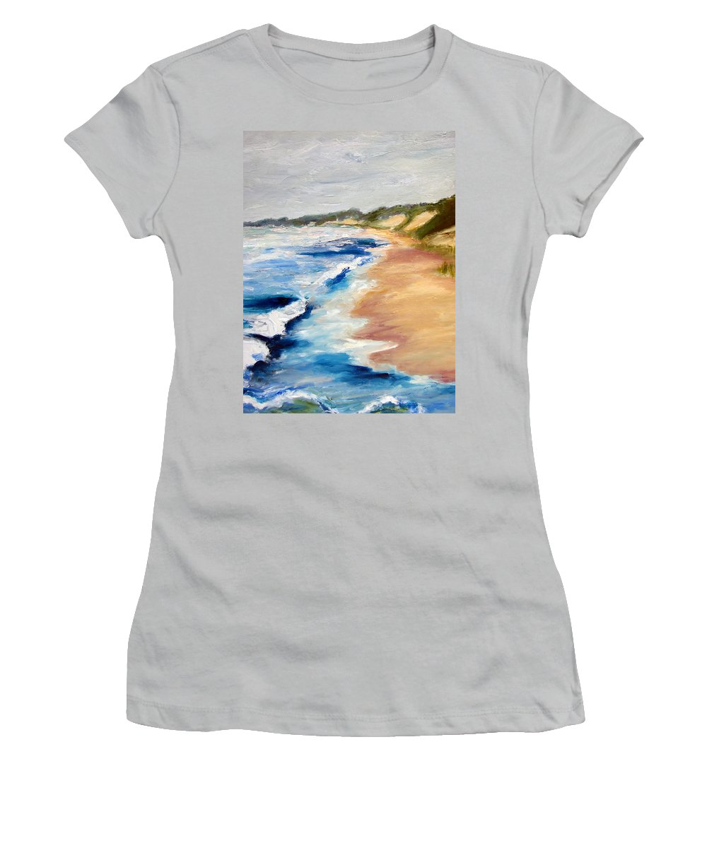 Whitecaps Women's T-Shirt (Athletic Fit) featuring the painting Lake Michigan Beach With Whitecaps Detail by Michelle Calkins