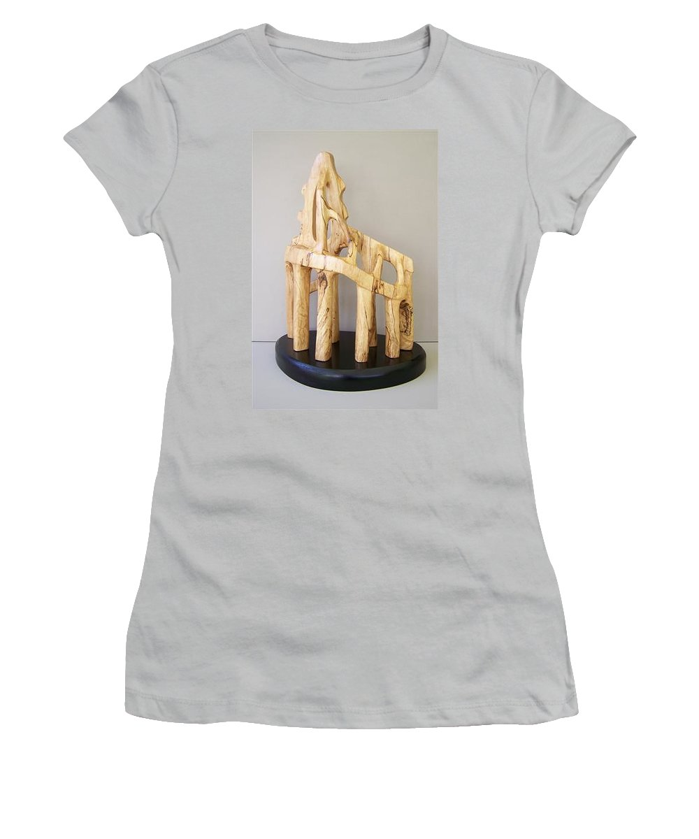 Wood-carving-sculpture-abstract- Women's T-Shirt (Athletic Fit) featuring the sculpture Lost Glory by Norbert Bauwens
