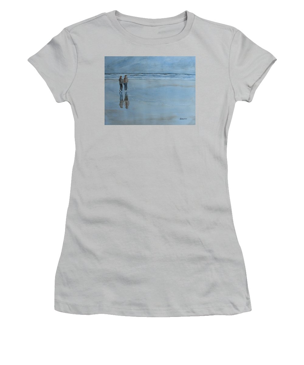 Girls Women's T-Shirt (Athletic Fit) featuring the painting Low Tide At Agate Beach by Jenny Armitage
