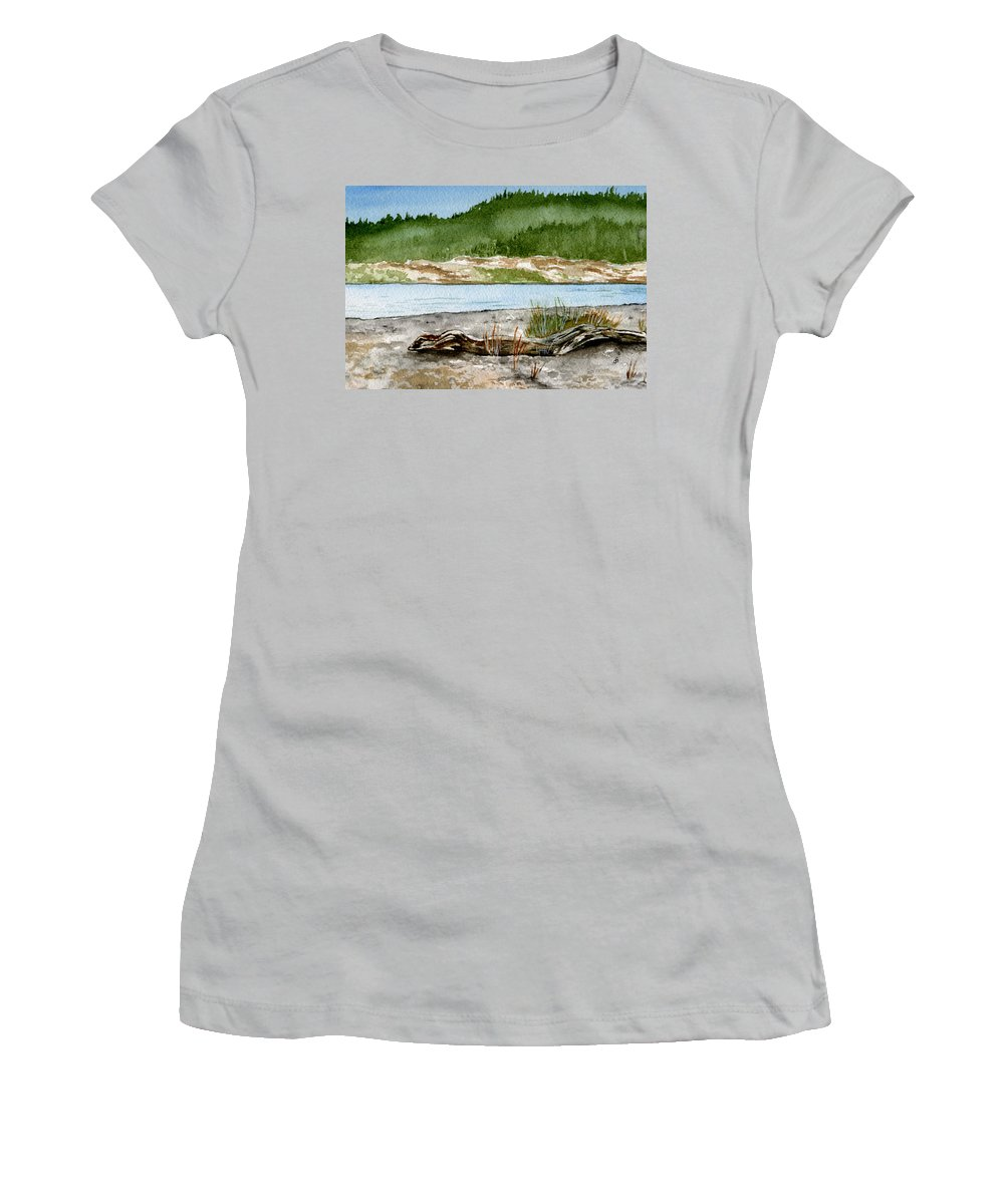 Landscape Women's T-Shirt (Athletic Fit) featuring the painting Maine Beach Wood by Brenda Owen