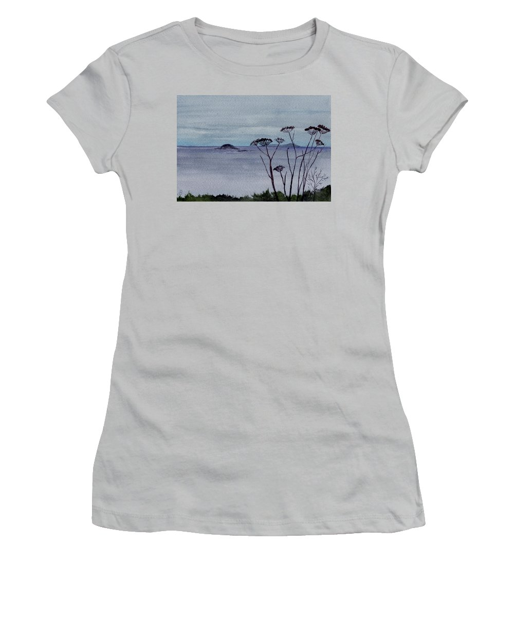 Landscape Watercolor Sea Ocean Sky Cloudy Flower Weed Women's T-Shirt (Athletic Fit) featuring the painting Maine Moody Distance by Brenda Owen