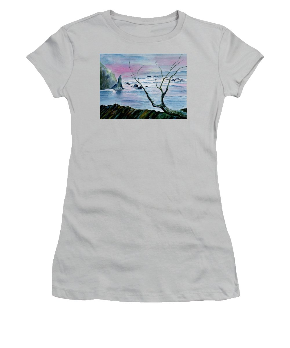 Watercolor Women's T-Shirt (Athletic Fit) featuring the painting Maine Seawatch by Brenda Owen