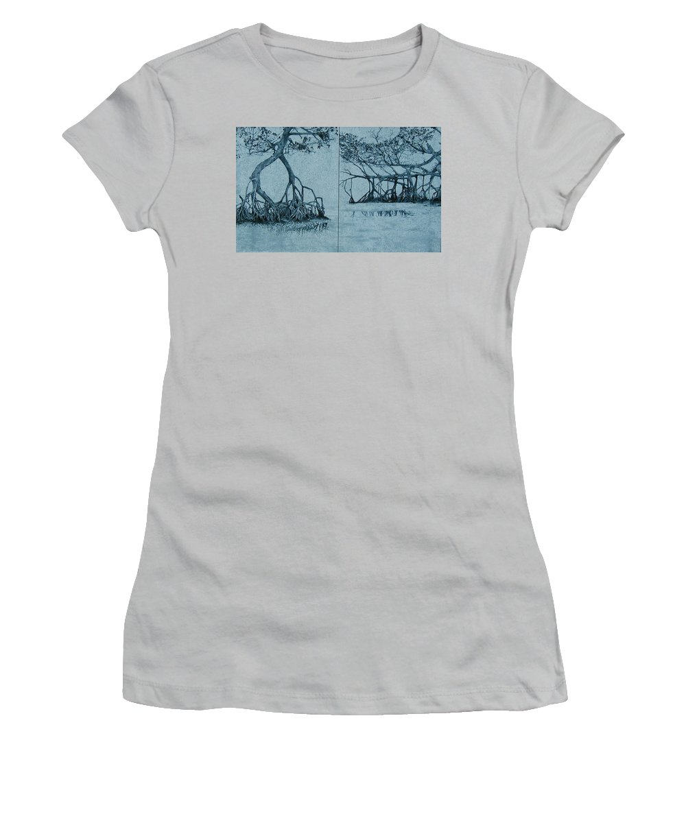 Blue Women's T-Shirt (Junior Cut) featuring the painting Mangroves by Leah Tomaino