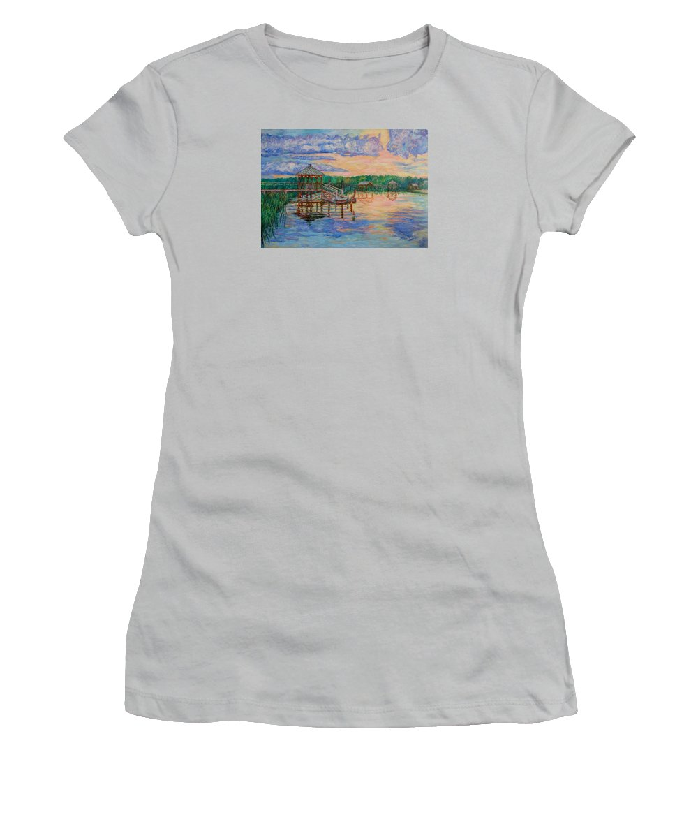 Landscape Women's T-Shirt (Athletic Fit) featuring the painting Marsh View At Pawleys Island by Kendall Kessler