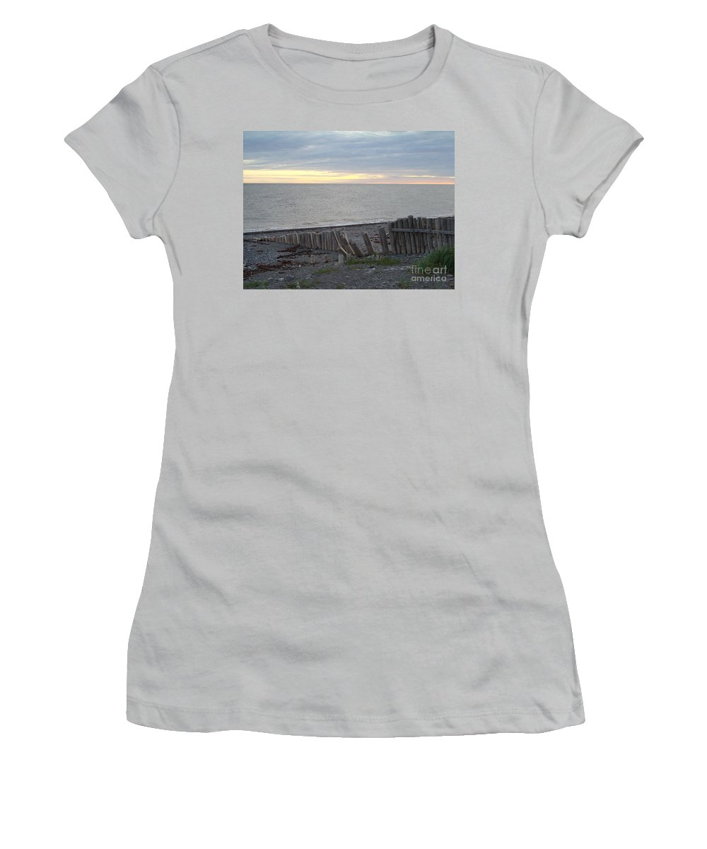 Seascape Women's T-Shirt (Athletic Fit) featuring the photograph Matane In The Morning... by Line Gagne