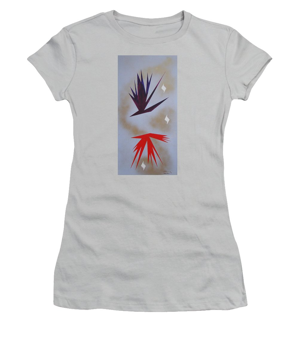Birds Women's T-Shirt (Athletic Fit) featuring the painting Mating Ritual by J R Seymour