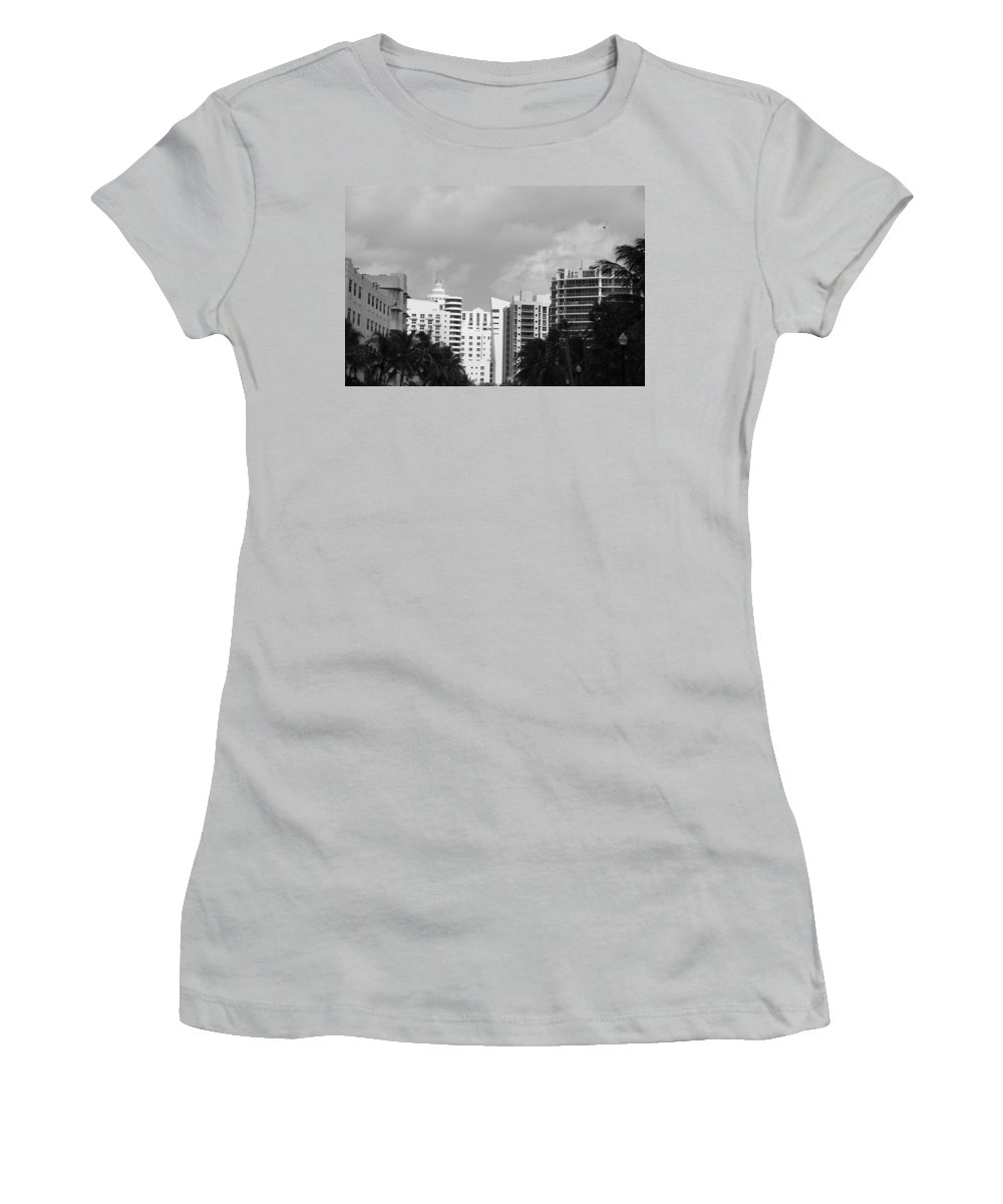Black And White Women's T-Shirt (Athletic Fit) featuring the photograph Miami Sky by Rob Hans