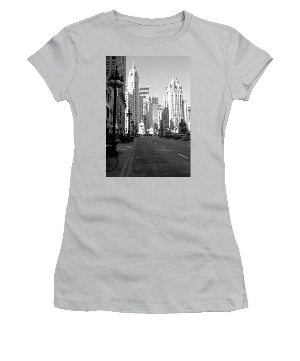Chicago Women's T-Shirt (Athletic Fit) featuring the photograph Michigan Ave Tall B-w by Anita Burgermeister