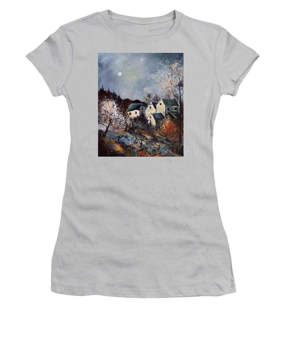 Village Women's T-Shirt (Athletic Fit) featuring the painting Moonshine by Pol Ledent