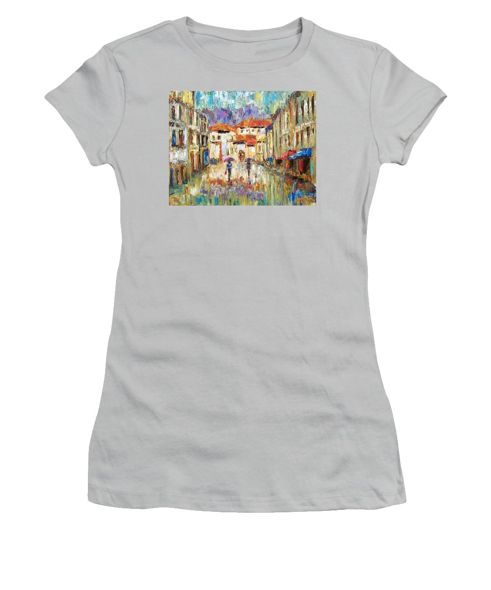 Landscape Women's T-Shirt (Athletic Fit) featuring the painting Morning Rain by Debra Hurd