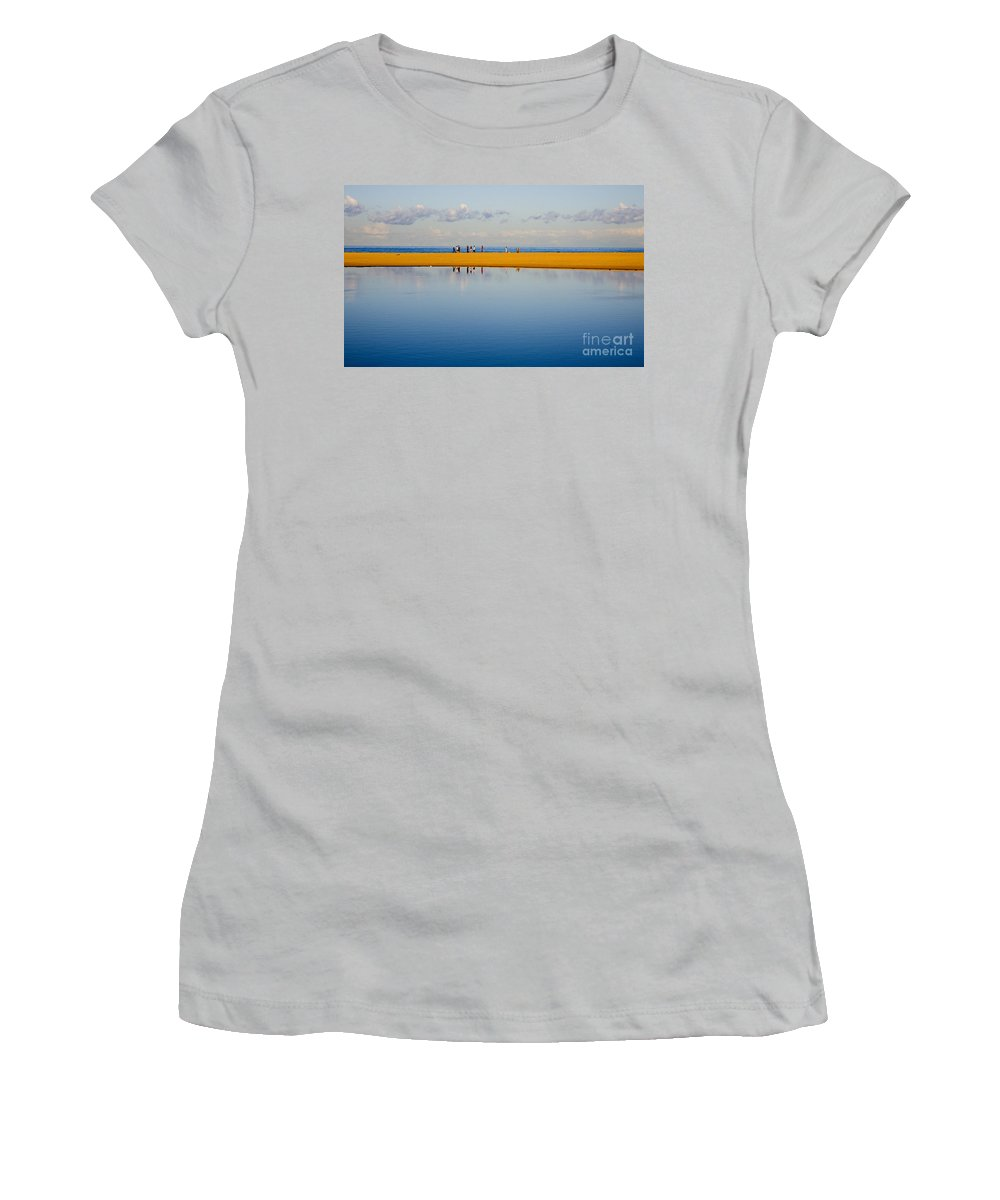 Dunes Lowry Sand Sky Reflection Sun Lifestyle Narrabeen Australia Women's T-Shirt (Athletic Fit) featuring the photograph Narrabeen Dunes by Sheila Smart Fine Art Photography