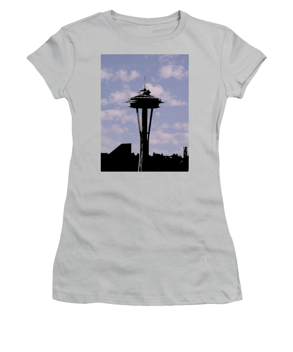 Seattle Women's T-Shirt (Athletic Fit) featuring the digital art Needle In The Clouds by Tim Allen