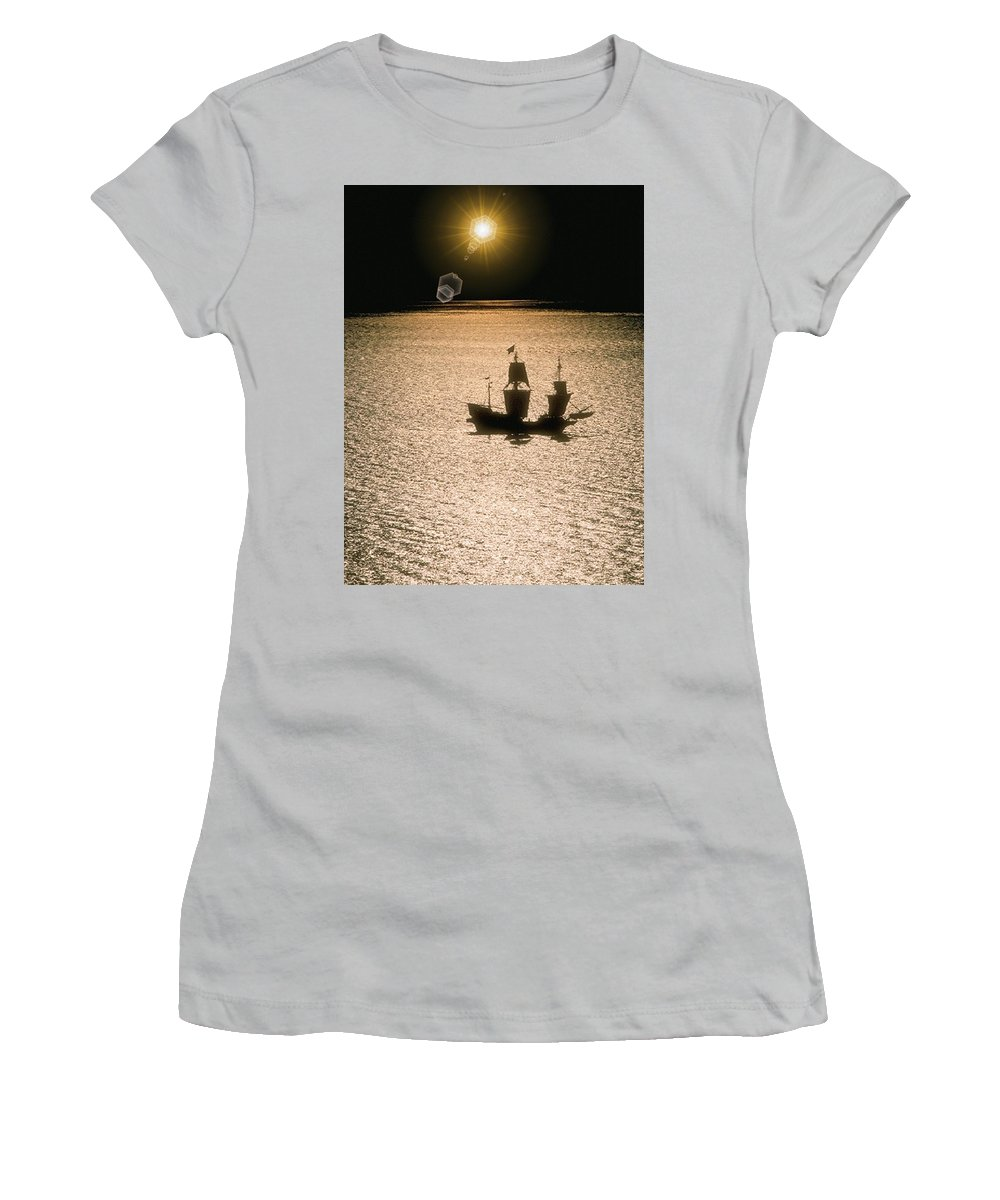 Sail Women's T-Shirt (Athletic Fit) featuring the photograph Night Sail by Tim Allen