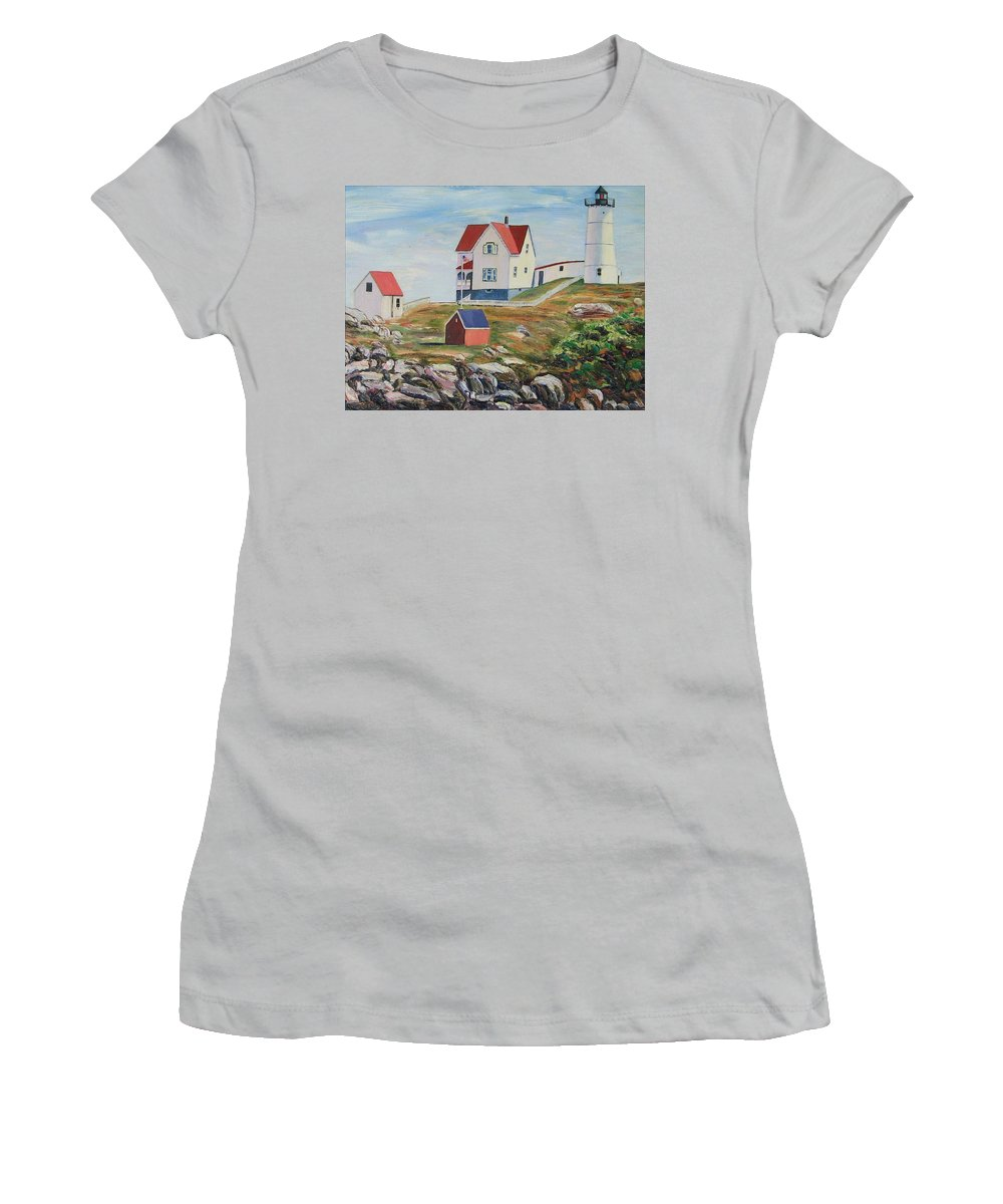 Nubble Light House Women's T-Shirt (Athletic Fit) featuring the painting Nubble Light House Maine by Richard Nowak