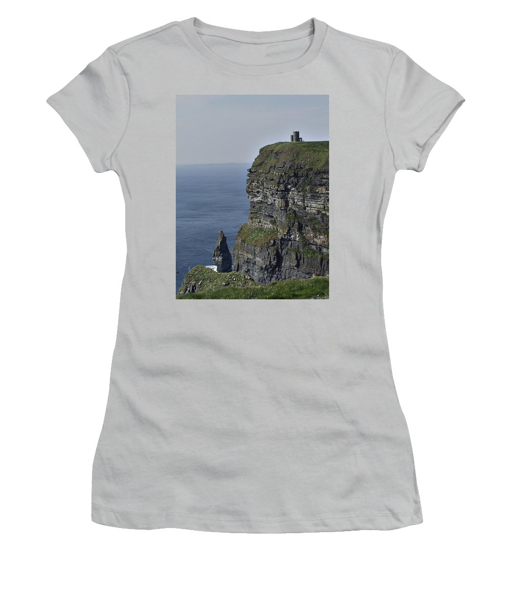 Irish Women's T-Shirt (Athletic Fit) featuring the photograph O Brien's Tower At The Cliffs Of Moher Ireland by Teresa Mucha