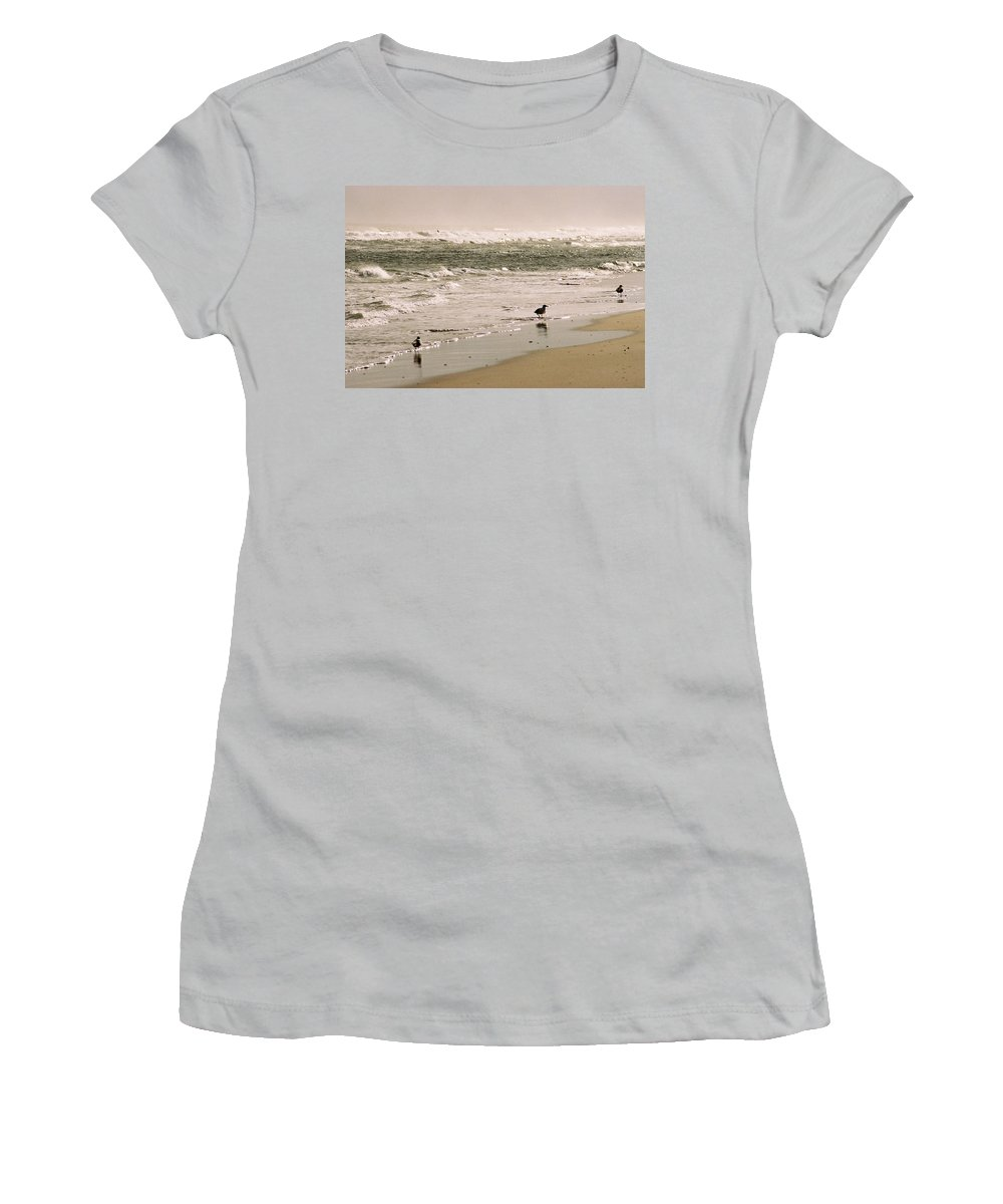 Seascape Women's T-Shirt (Athletic Fit) featuring the photograph Ocean Edge by Steve Karol