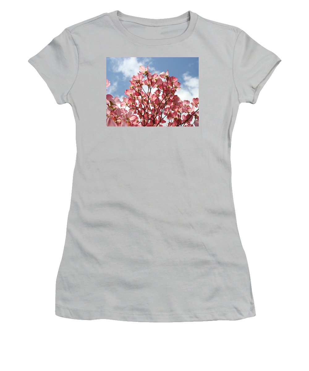 Office Women's T-Shirt (Athletic Fit) featuring the photograph Office Art Prints Blue Sky Pink Dogwood Flowering 7 Giclee Prints Baslee Troutman by Baslee Troutman