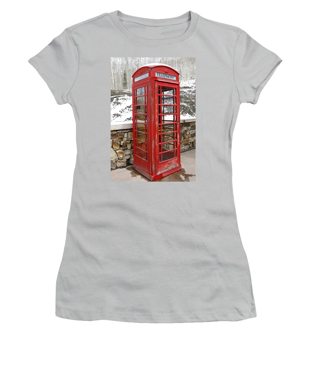 Communication Women's T-Shirt (Athletic Fit) featuring the photograph Old Phone Booth by Marilyn Hunt