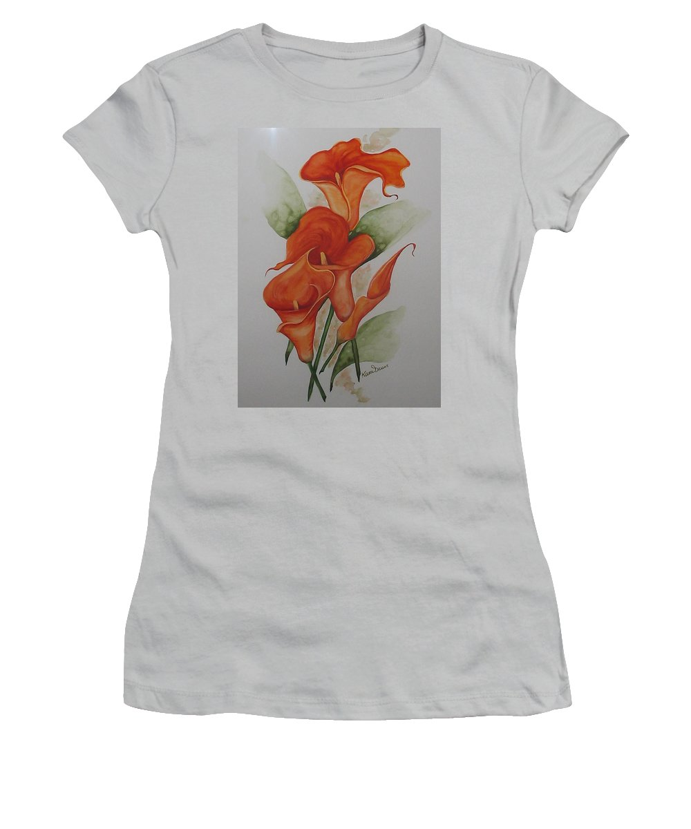 Floral Orange Lily Women's T-Shirt (Athletic Fit) featuring the painting Orange Callas by Karin Dawn Kelshall- Best