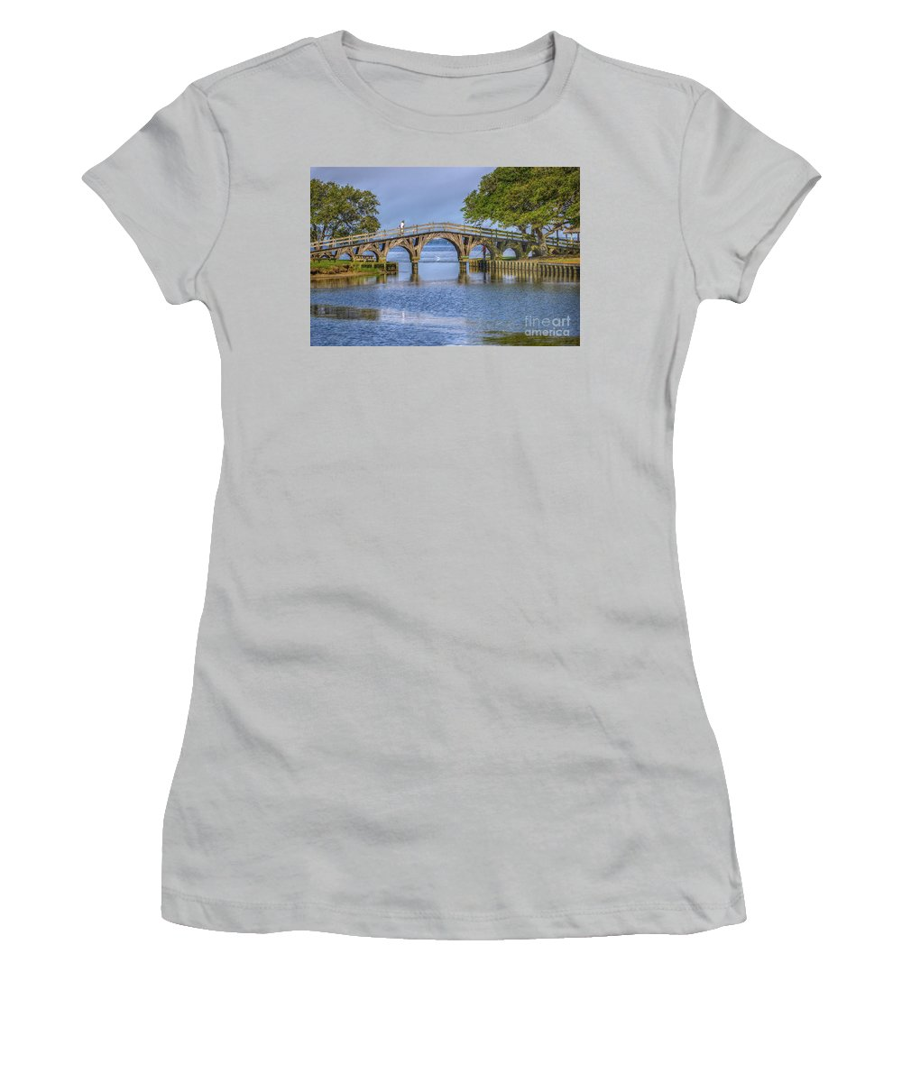 Summer Women's T-Shirt (Athletic Fit) featuring the photograph Outer Banks Whalehead Club Bridge by Randy Steele