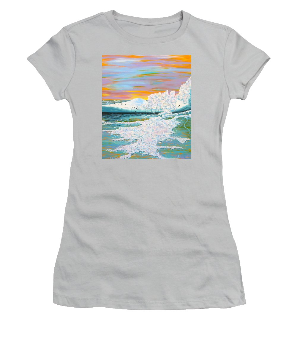Ice Women's T-Shirt (Athletic Fit) featuring the painting The Last Iceberg by V Boge