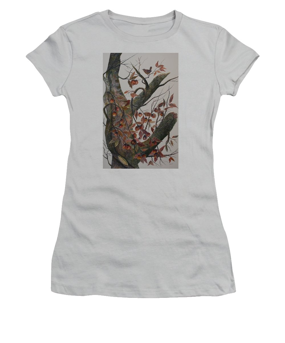 Persimmons; Tree; Landscape' Carolina Wren; Bird Women's T-Shirt (Athletic Fit) featuring the painting Persimmon Tree by Ben Kiger