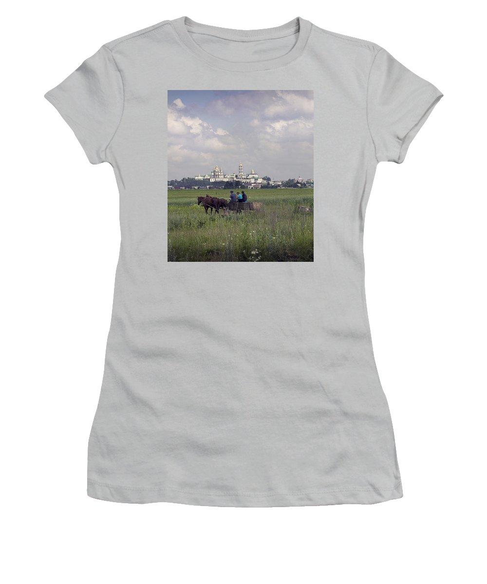 Ukraine Women's T-Shirt (Athletic Fit) featuring the photograph Pochaiv Monastery Ukraine by Yuri Lev
