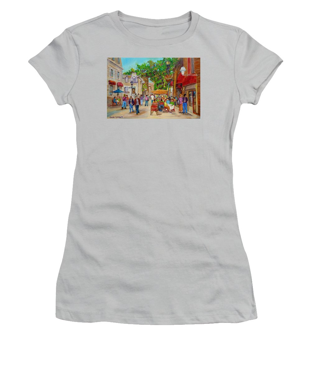 Montreal Women's T-Shirt (Athletic Fit) featuring the painting Prince Arthur Restaurants Montreal by Carole Spandau