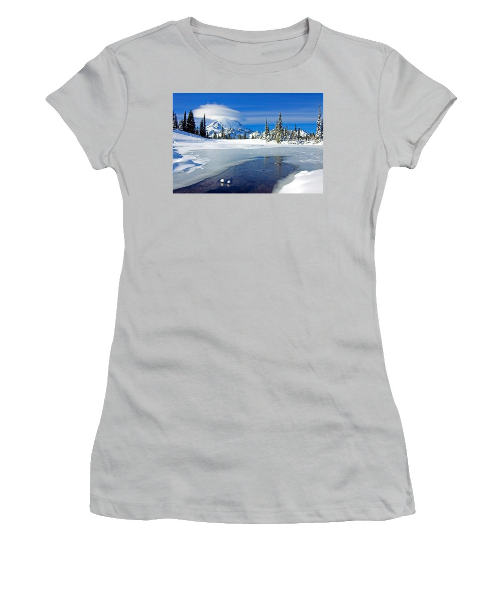 Rainier Women's T-Shirt (Athletic Fit) featuring the photograph Pristine by Mike Dawson